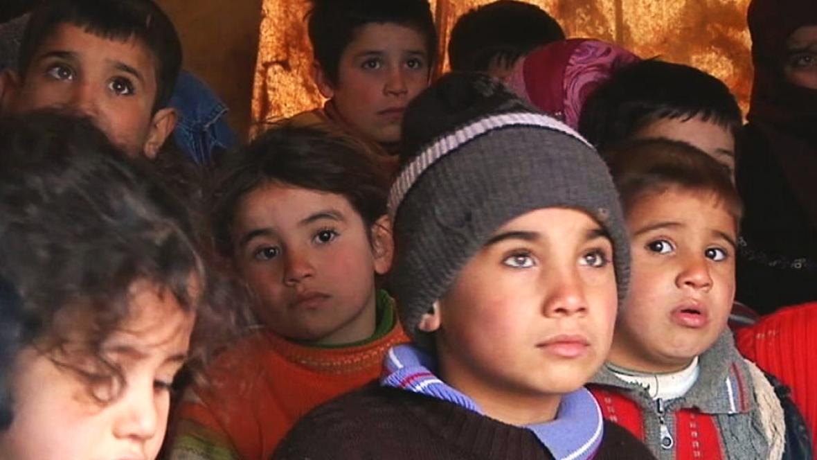Uprchlické děti v Aleppu