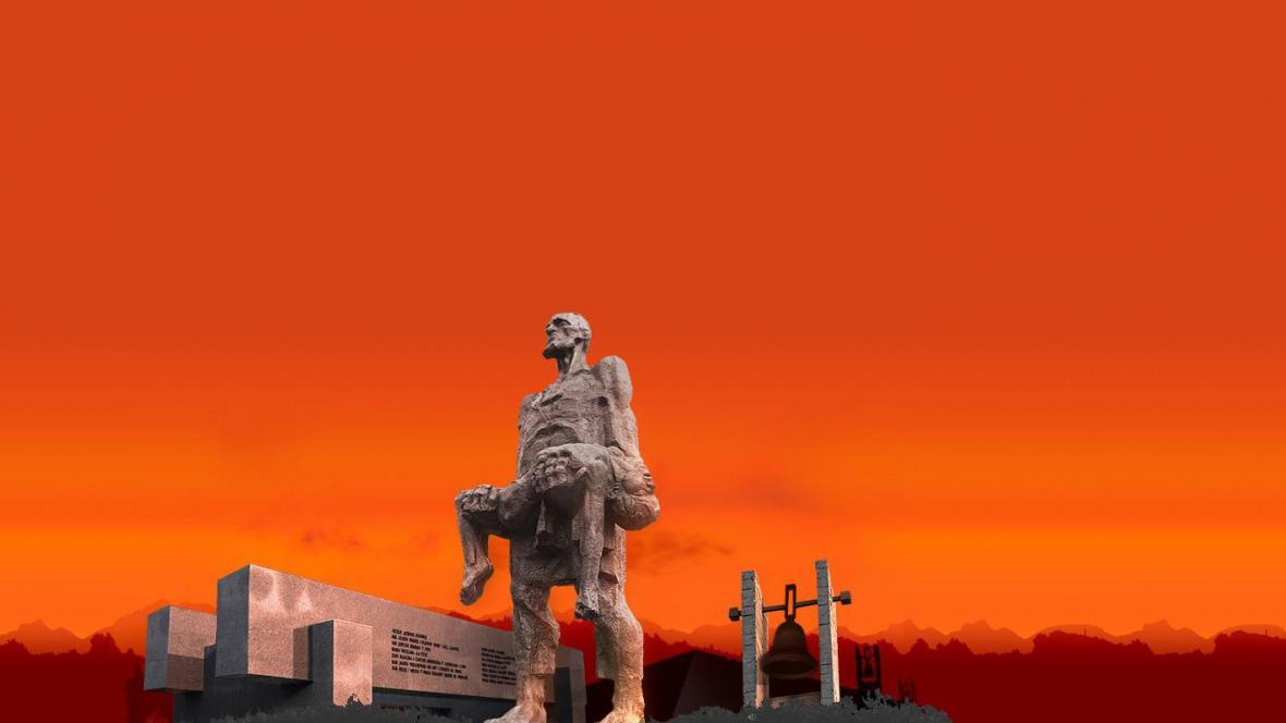 Vizualizace památníku v běloruské Chatyni