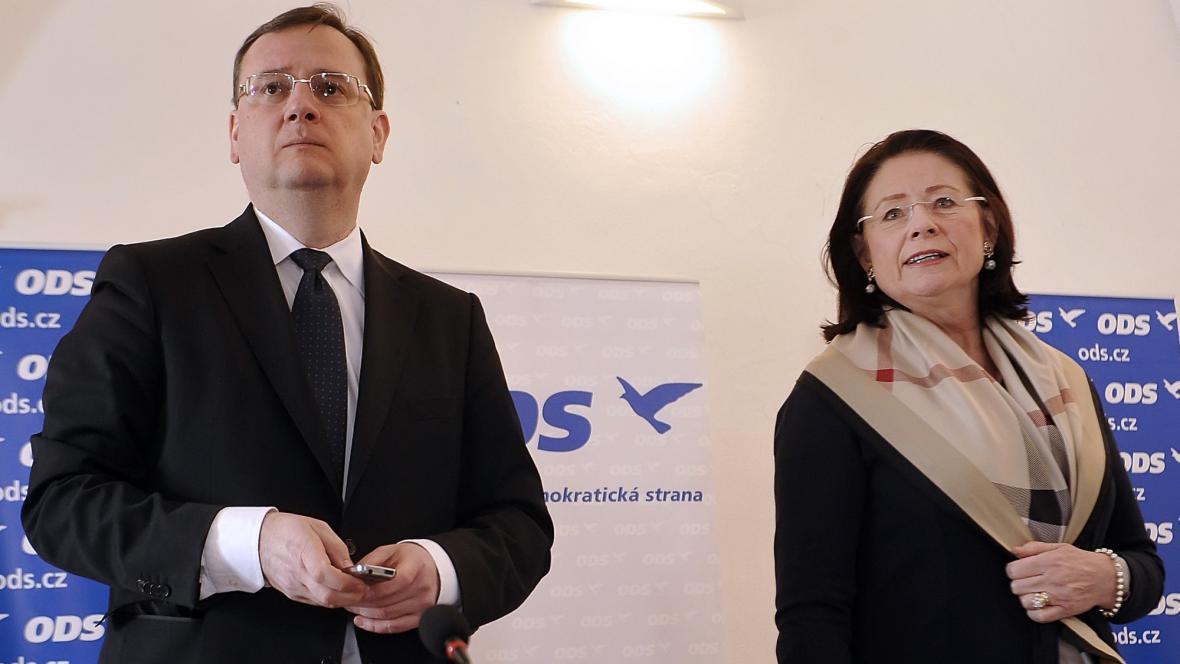 Petr Nečas a Miroslava Němcová na jednání vedení ODS v Jihlavě