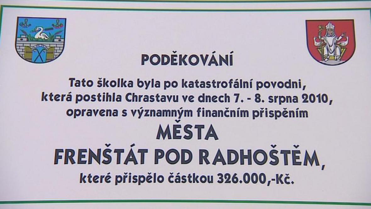 V roce 2010 pomohl Frenštát p. Radhoštěm Chrastavě