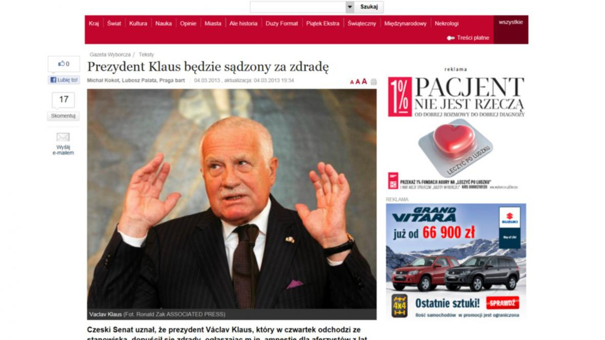 Václav Klaus v polských novinách