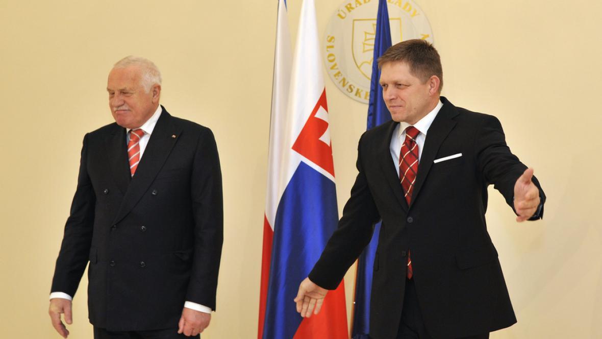 Václav Klaus s Robertem Ficem