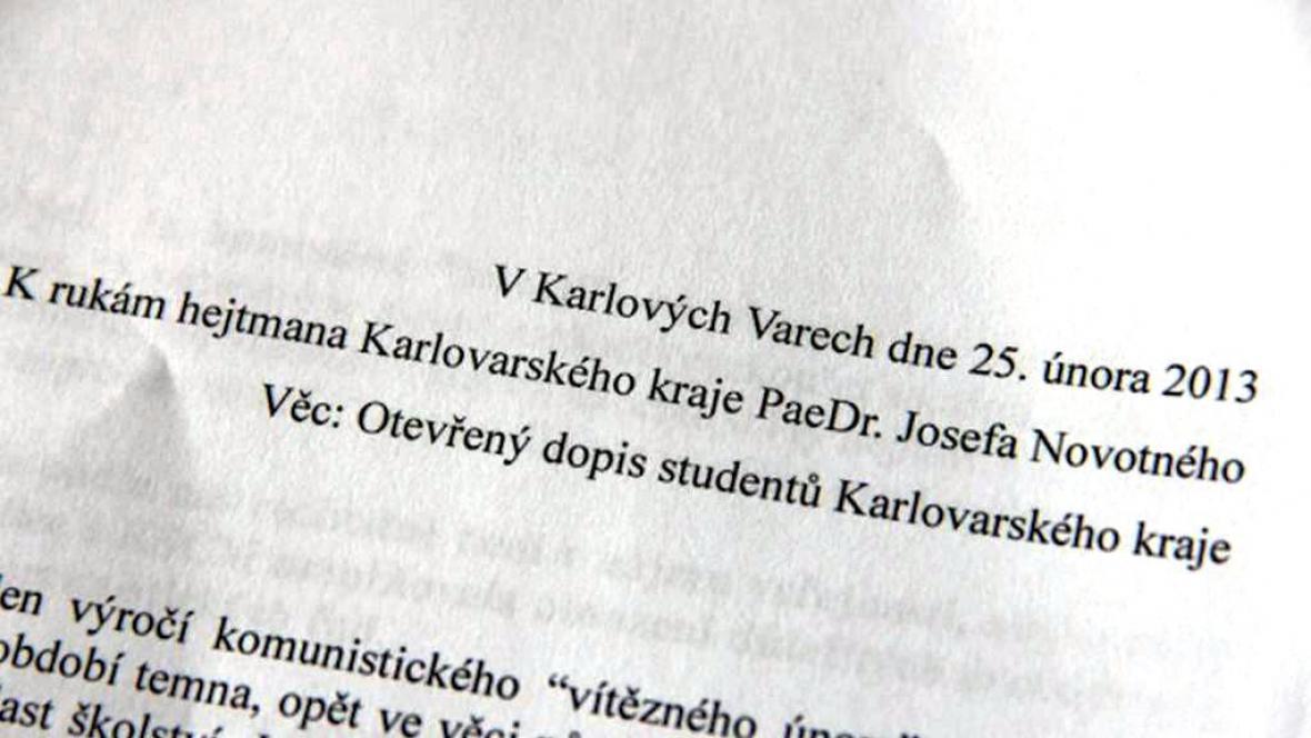Otevřený dopis karlovarskému hejtmanovi