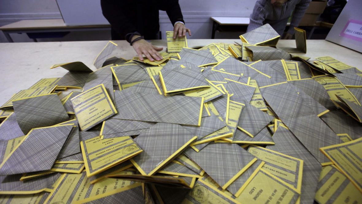 Sčítání volebních hlasů v Itálii