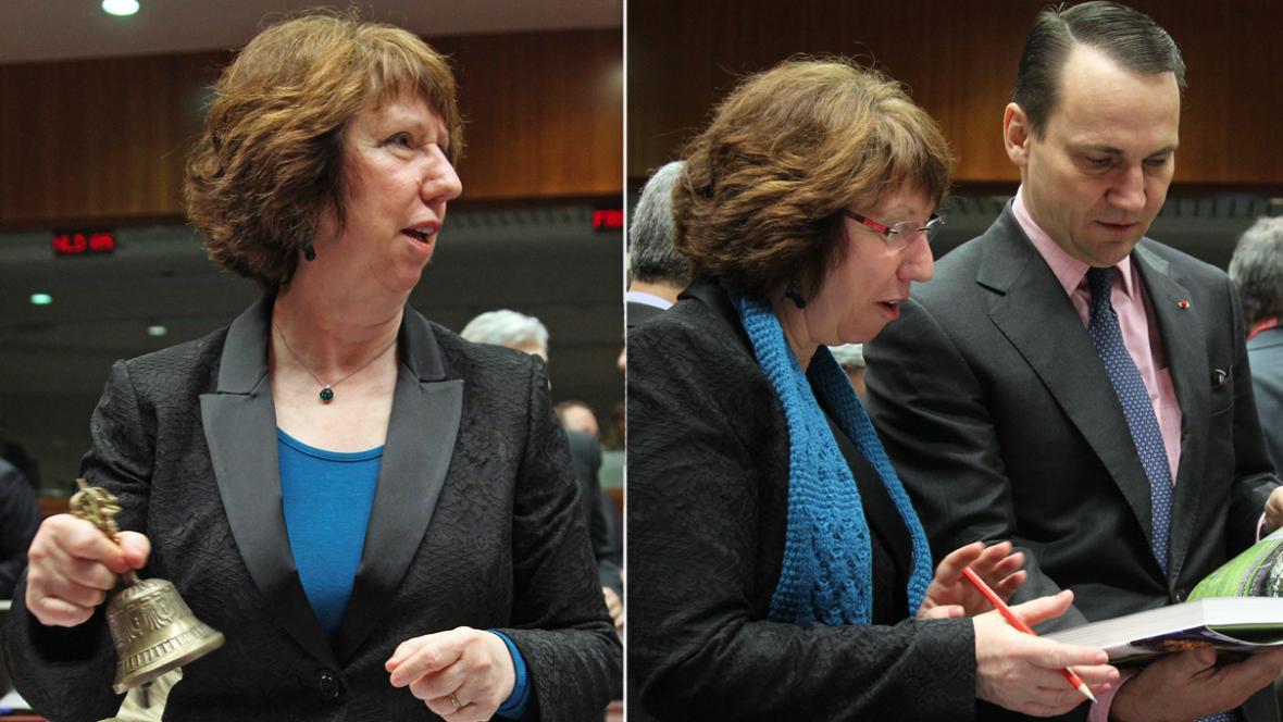 Catherine Ashtonová na schůzce ministrů zahraničí EU
