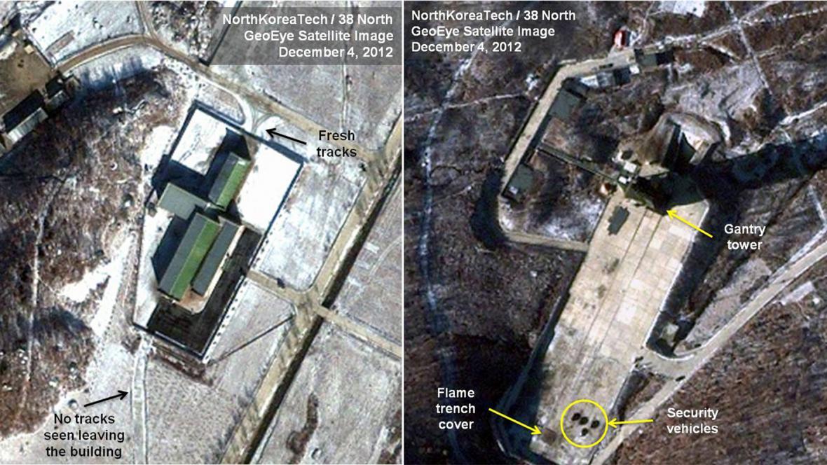Severokorejské přípravy na start rakety
