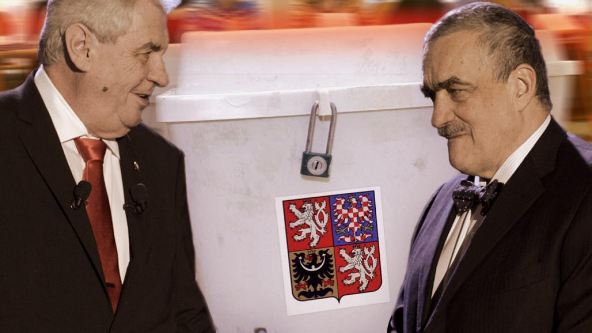 Miloš Zeman, Karel Schwarzenberg u volebních uren