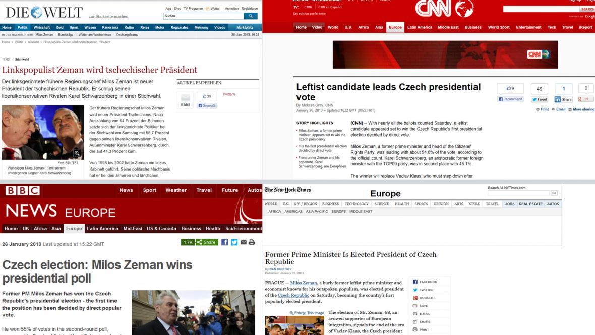 Zahraniční servery o prezidentské volbě