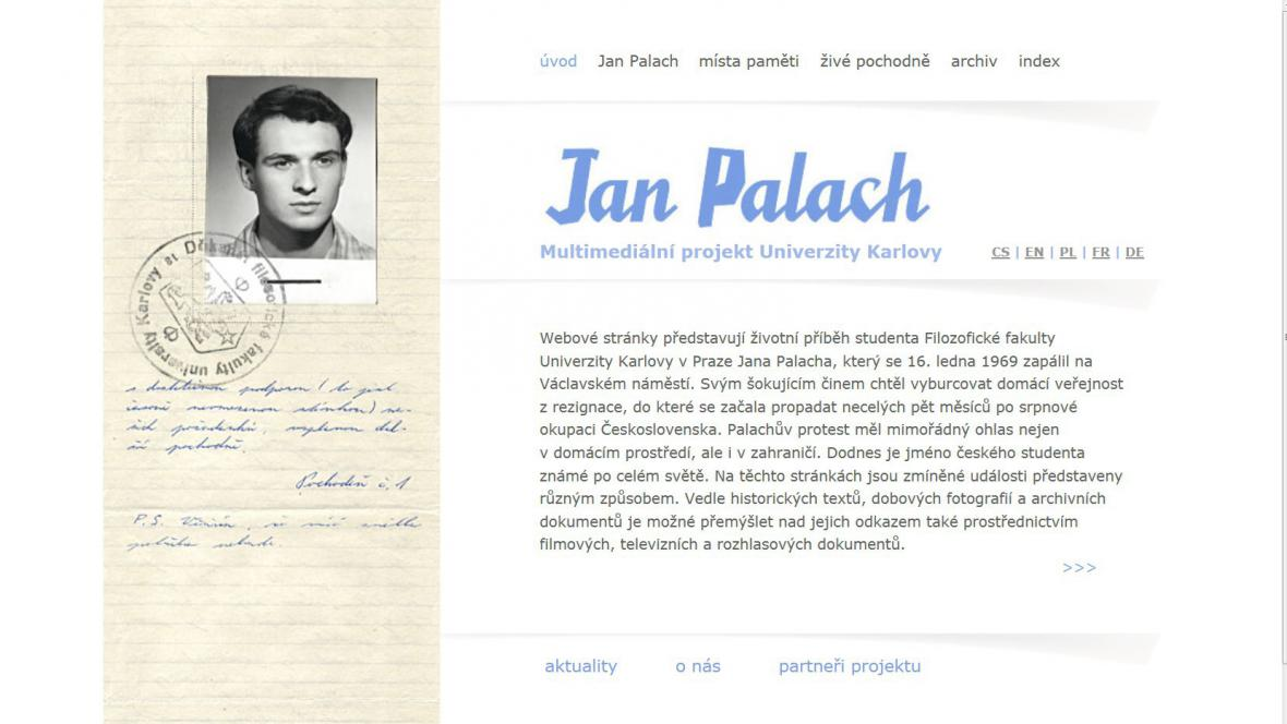 Webové stránky www.janpalach.cz