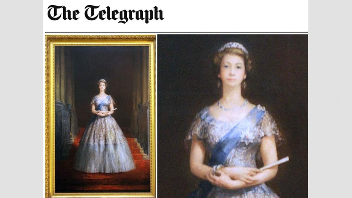 Nepovedený portrét Alžběty II.