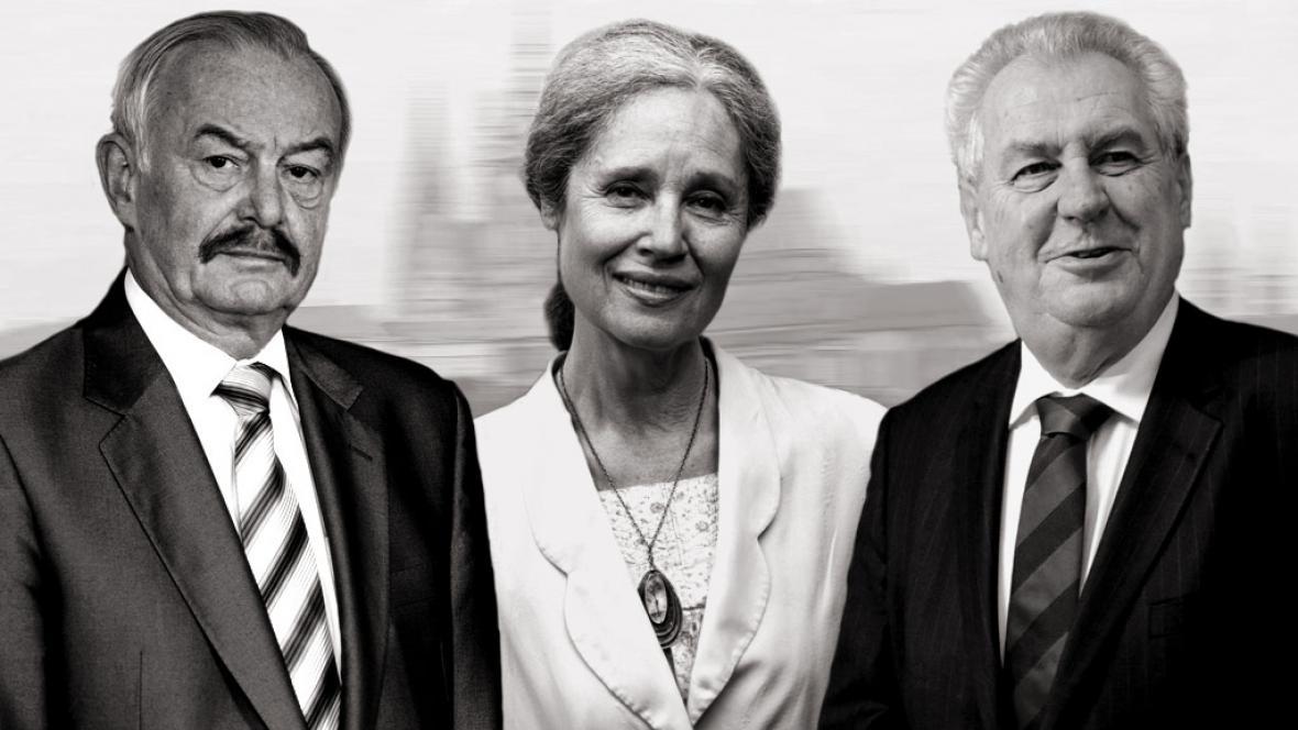 Přemysl Sobotka, Táňa Fischerová, Miloš Zeman