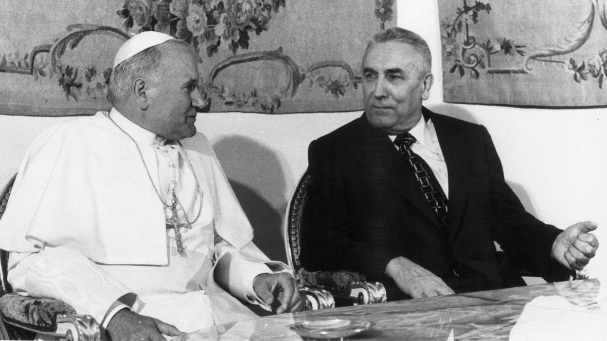 Edward Gierek a papež Jan Pavel II.