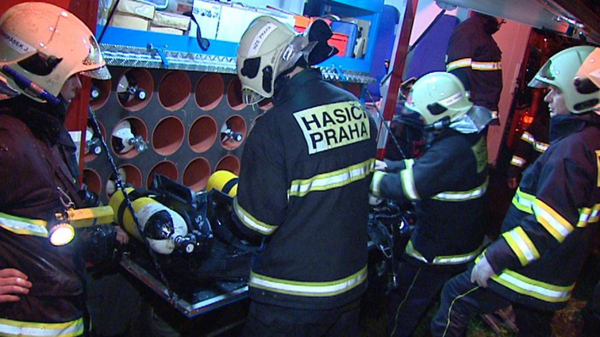 Zásah hasičů v Kaplické ulici v Praze 4