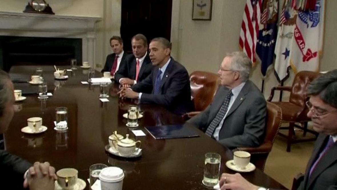 Jednání prezidenta Obamy s politickými špičkami USA