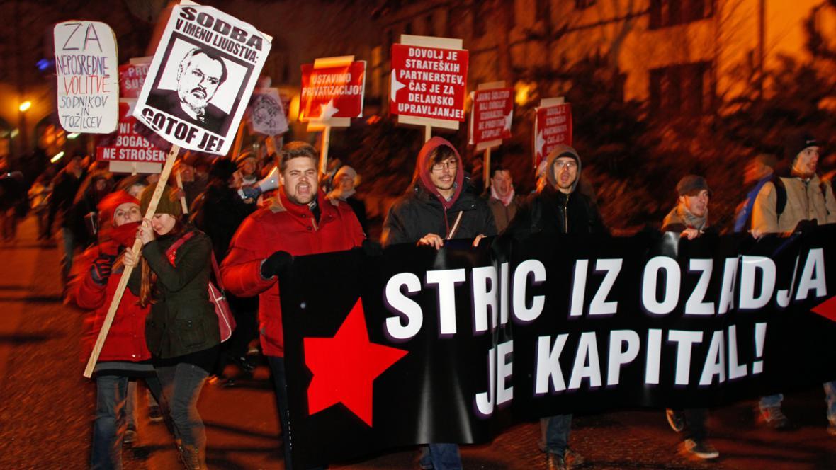 Demonstrace v Lublani