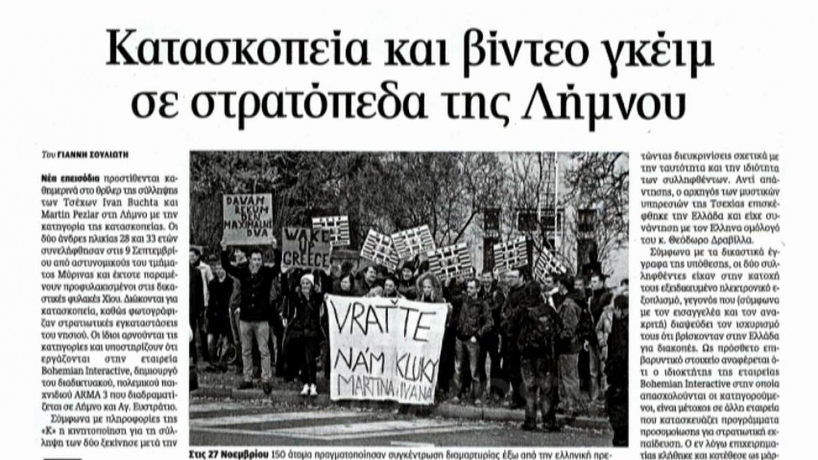 Řecký list o zadržených Češích