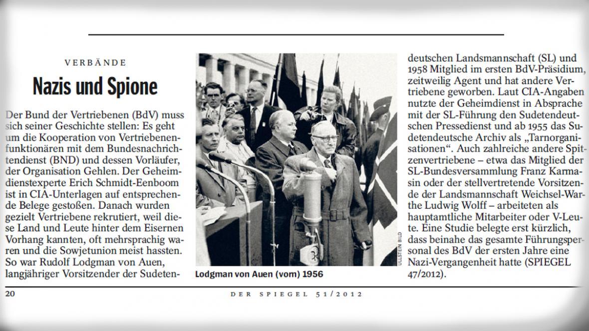 Der Spiegel o sudetských Němcích v rozvědce