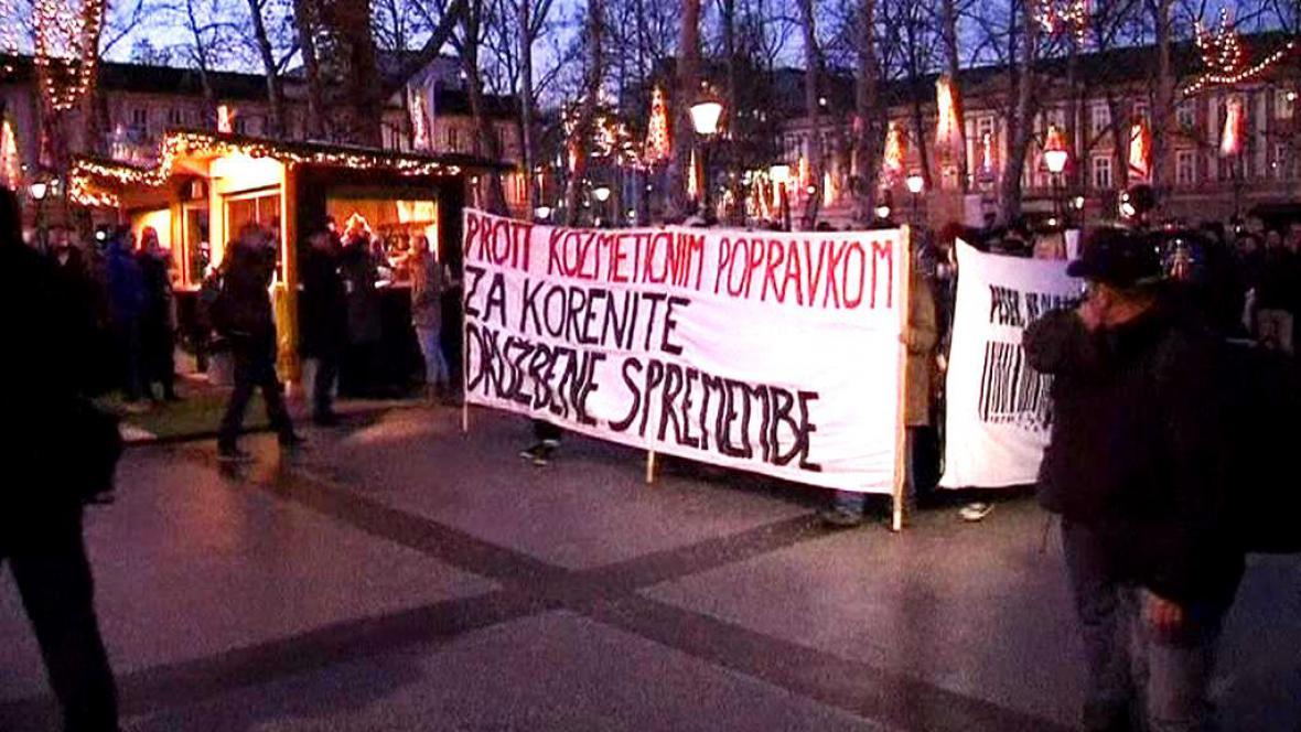 Demonstrace na Slovinsku