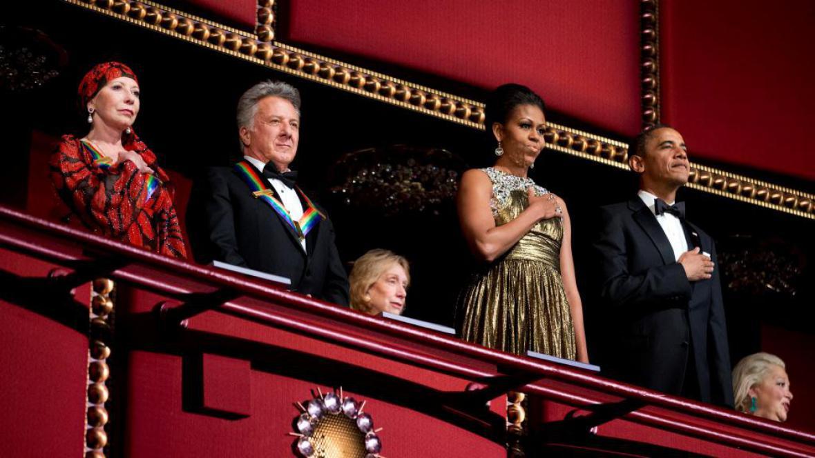 Natalie Makarová, Dustin Hoffman, Michelle a Barack Obamovi