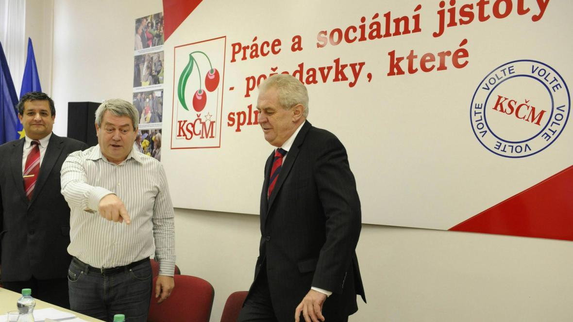 Miloš Zeman na jednání KSČM