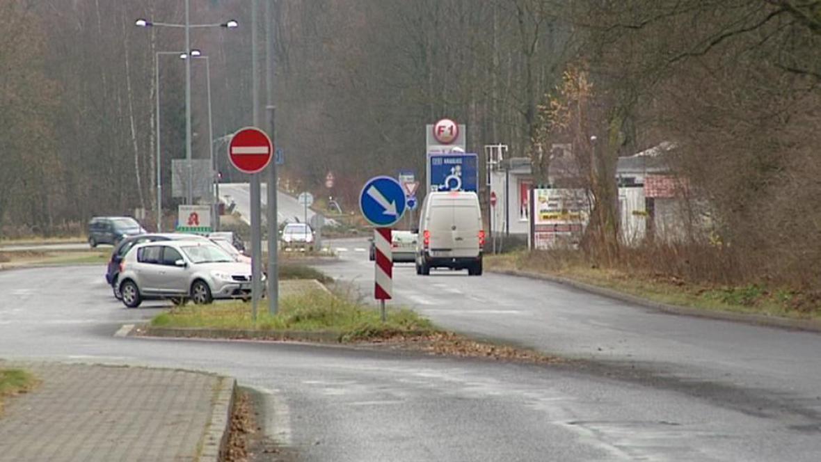 Příjezd k hraničnímu přechodu Kraslice