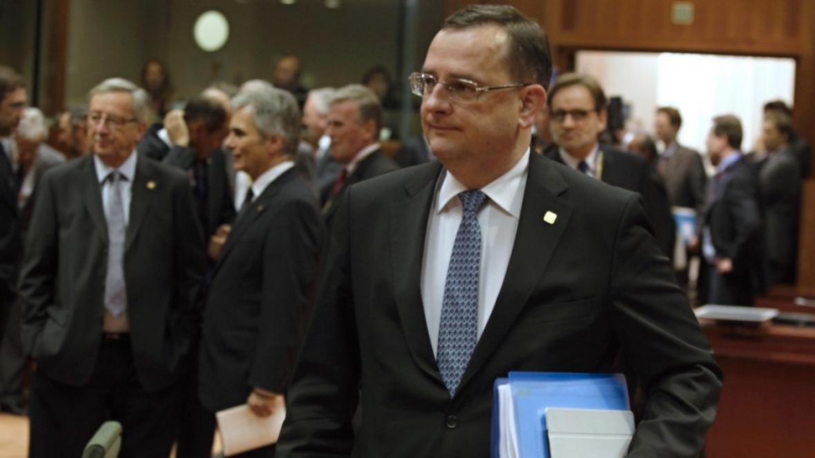 Premiér Petr Nečas na summitu o unijním rozpočtu v Bruselu
