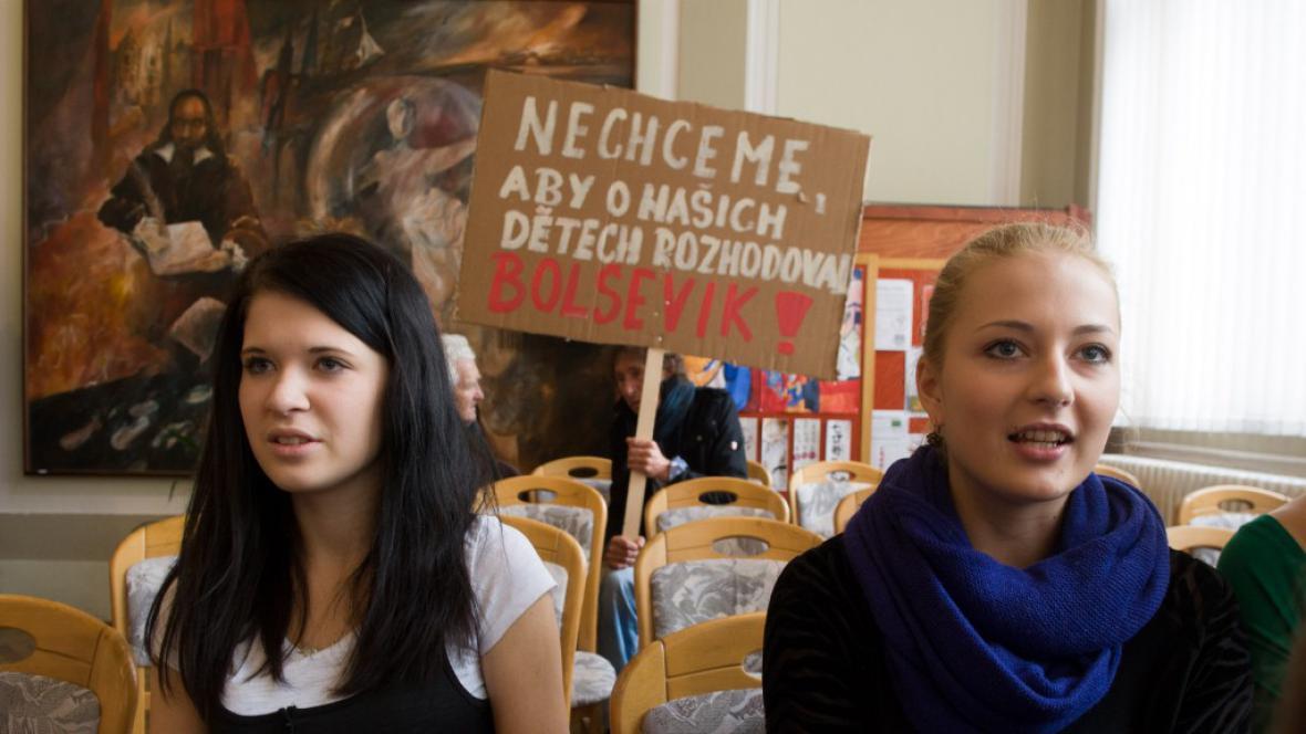 Protest na třeboňském gymnáziu