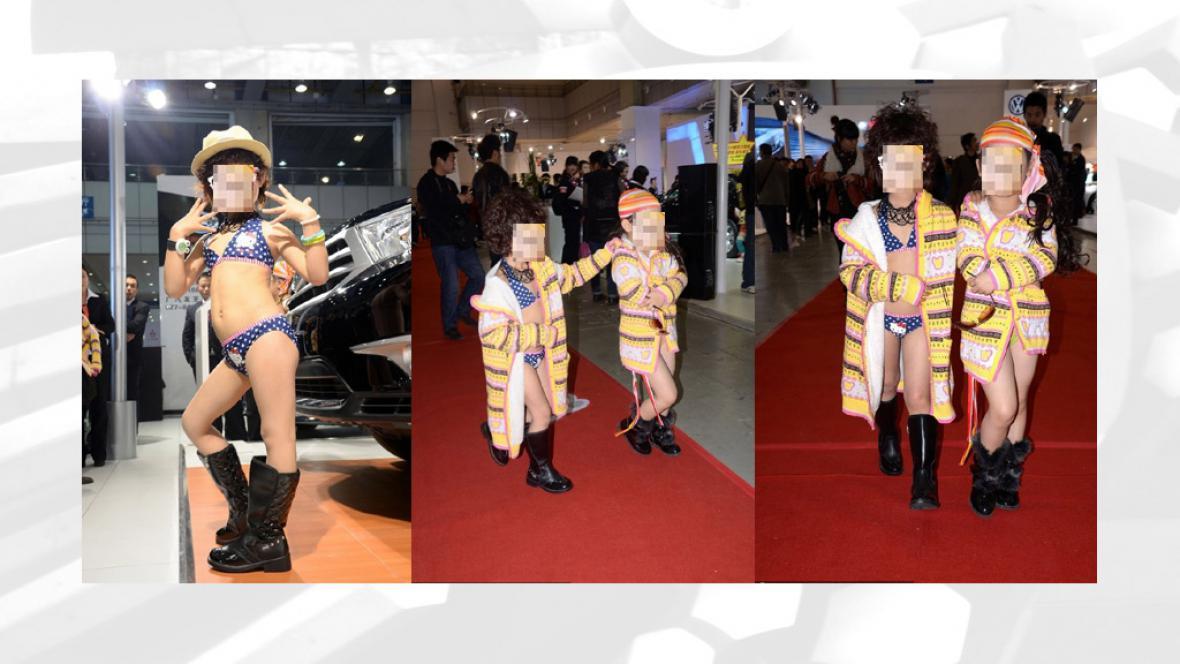 Na čínském autosalonu byly k vidění pětileté modelky