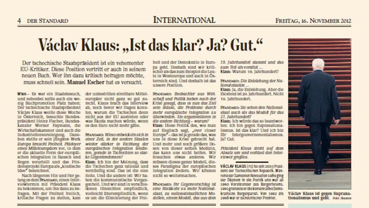 Rozhovor Václava Klause pro Der Standard