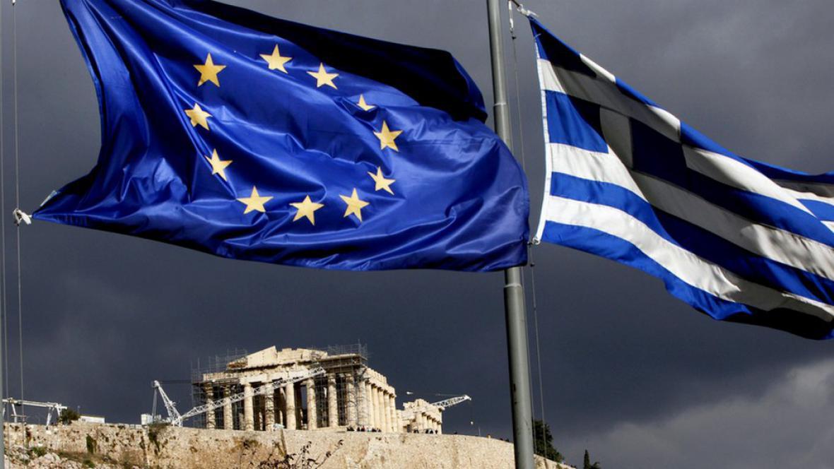 Vlajky Řecka a Evropské unie