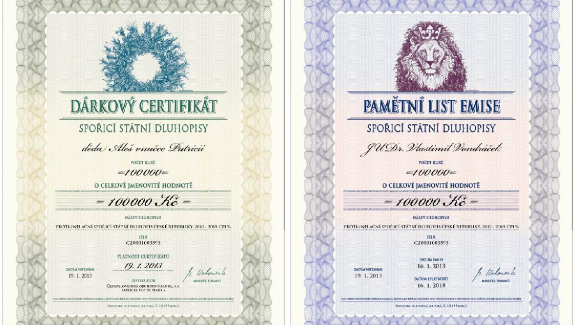 Dárkové a pamětní certifikáty