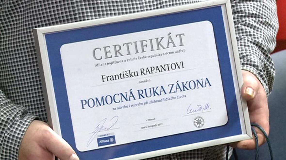 Certifikát Františku Rapantovi
