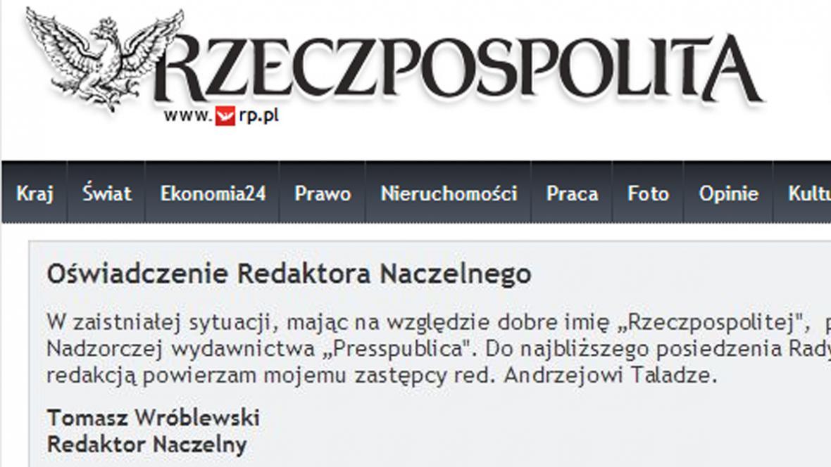 Šéfredaktor deníku Rzeczpospolita Tomasz Wróblewski dal k dispozici svou funkci
