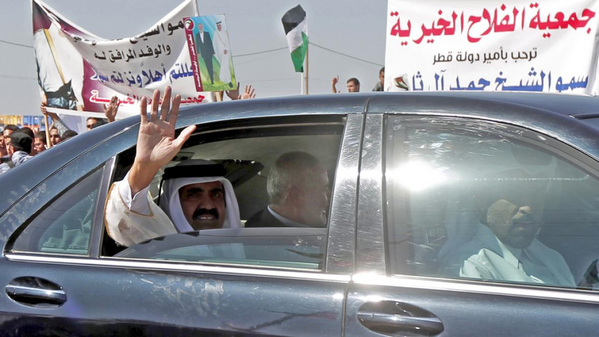 Šajch Hamad bin Chalífa Sání na návštěvě pásma Gazy