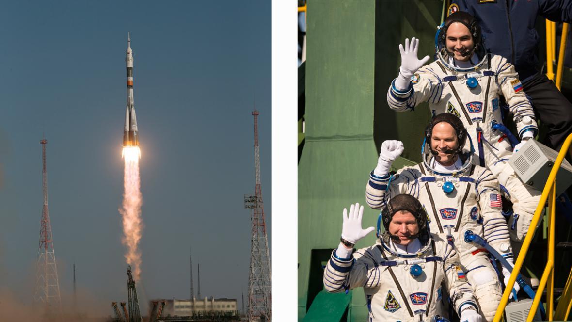 Start Sojuzu TMA-06M a jeho tříčlenná posádka