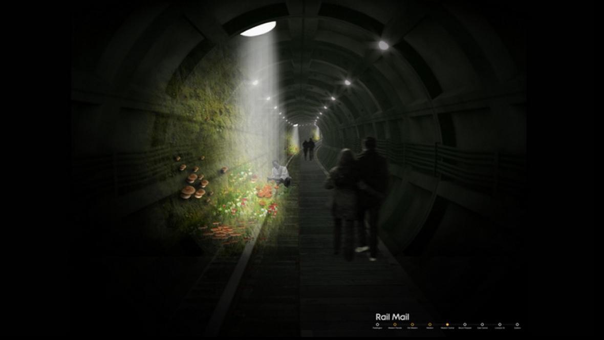 Vizualizace houbové farmy v Londýně
