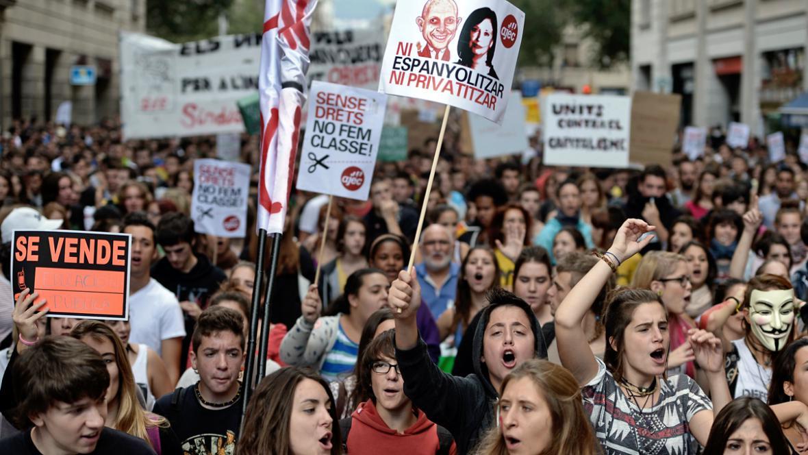 Protest španělských studentů