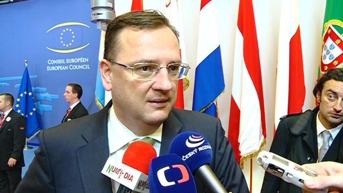 Premiér Petr Nečas po jednání v Bruselu