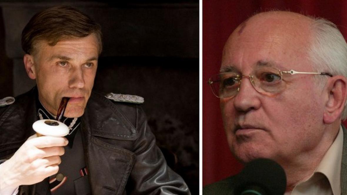 Christoph Waltz (vlevo) a Michail Gorbačov