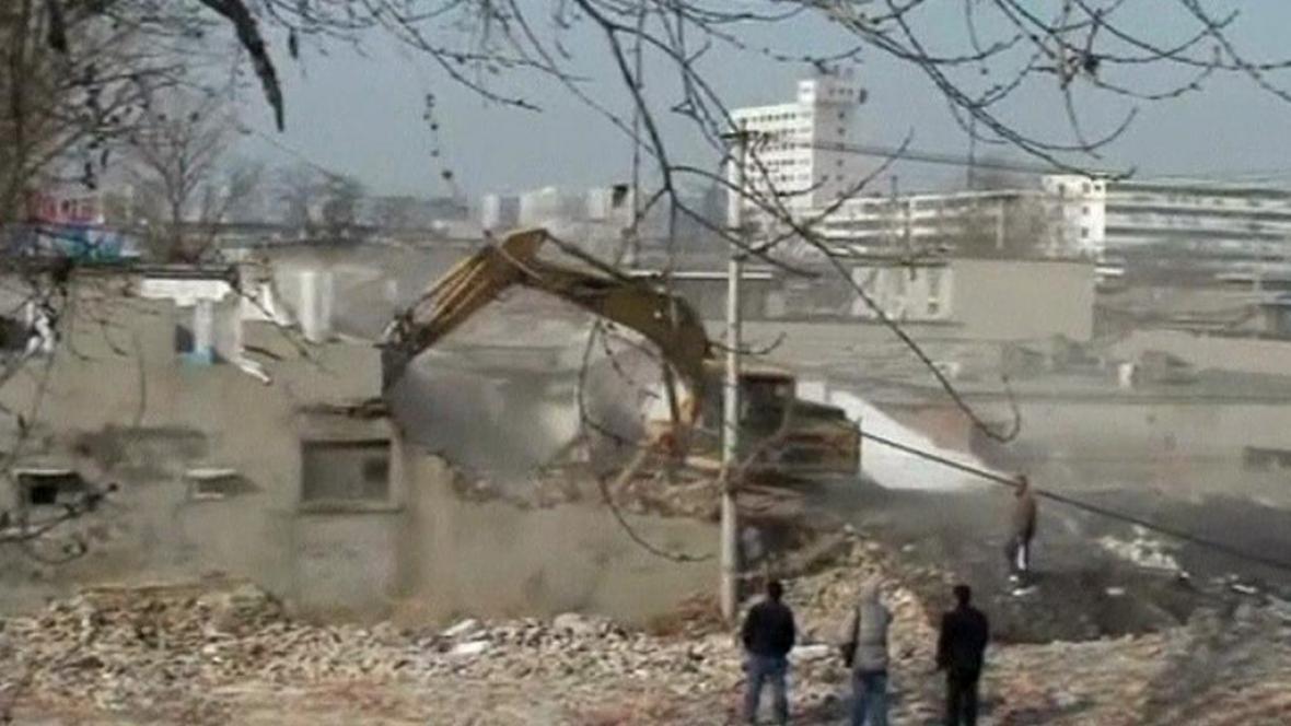 Demolice starých domů v Číně