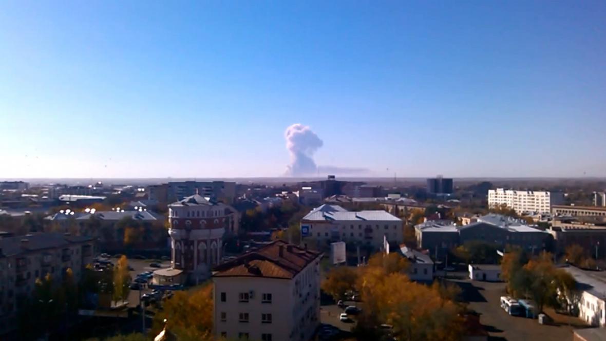Výbuch munice v ruském Orenburgu