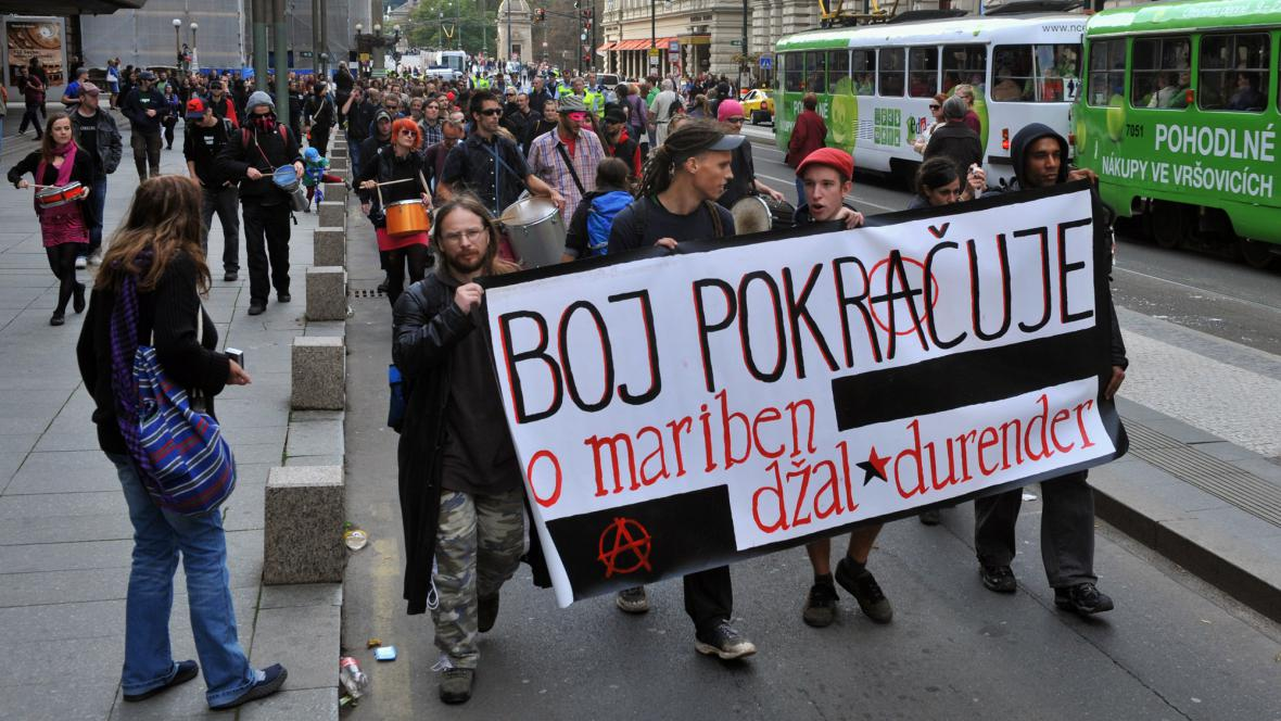 Pochod příznivců Jakuba Poláka