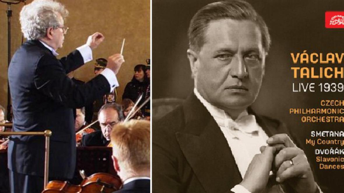 Dirigent Jiří Bělohlávek (vlevo) / nahrávka Mé vlasti z roku 1939 (vpravo)