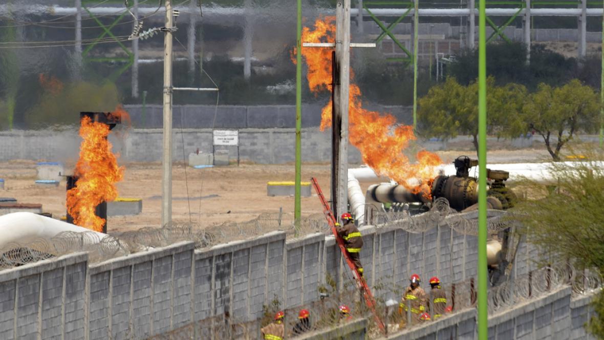 Požár plynovodu v Mexiku