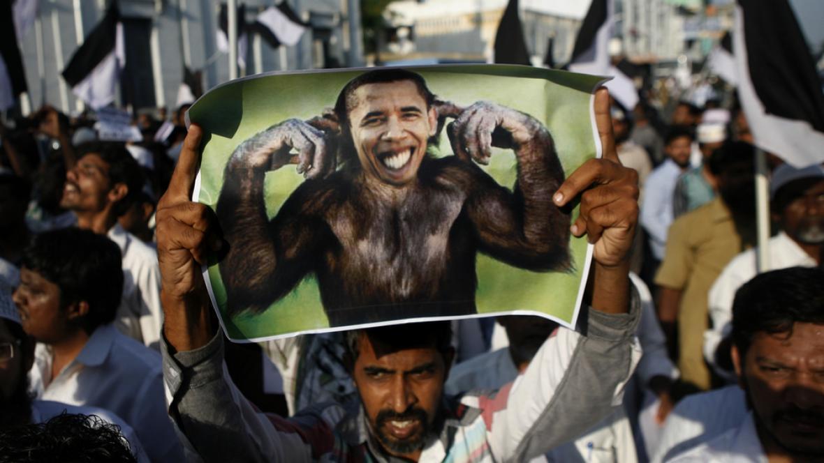 Protiamerická demonstrace v Indii