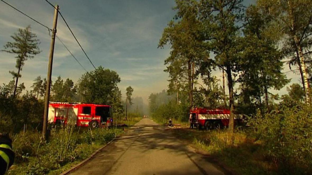 Požár lesa ve Staré Bělé