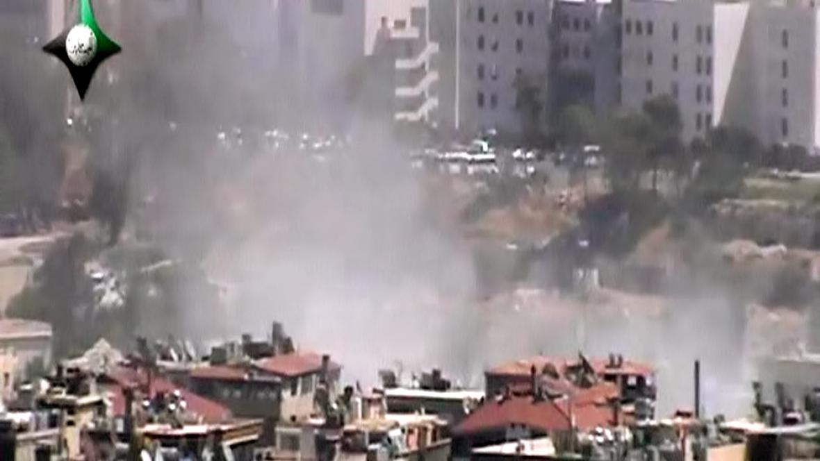 Následky výbuchu v Damašku