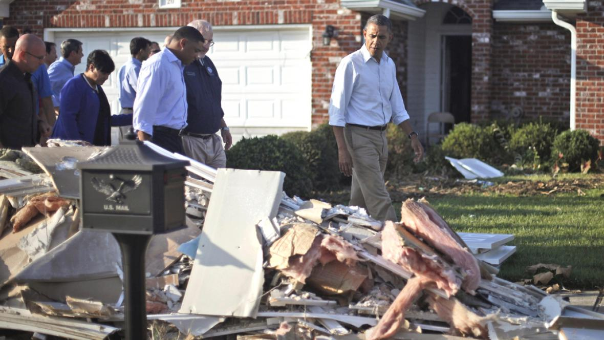 Obama navštívil oblast zničenou hurikánem Isaac
