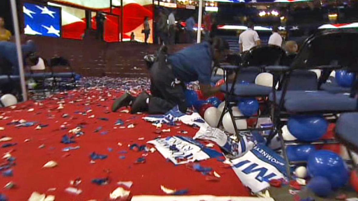 Úklid po republikánském sjezdu v Tampě