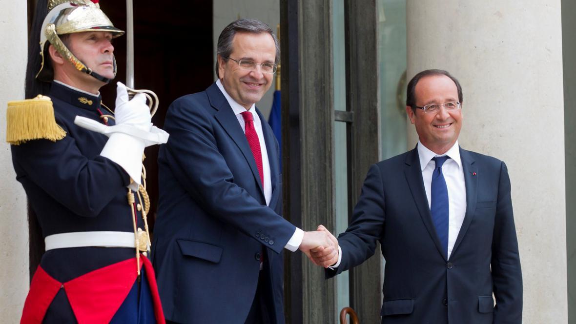 Francois Hollande a Antonis Samaras